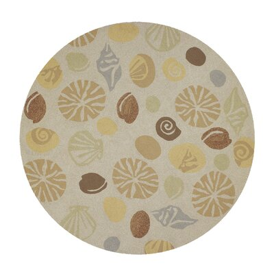 Rundall Hand-Hooked Tan Indoor/Outdoor Area Rug Rug Size: Round 710