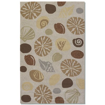 Rundall Hand-Hooked Tan Indoor/Outdoor Area Rug Rug Size: 36 x 56
