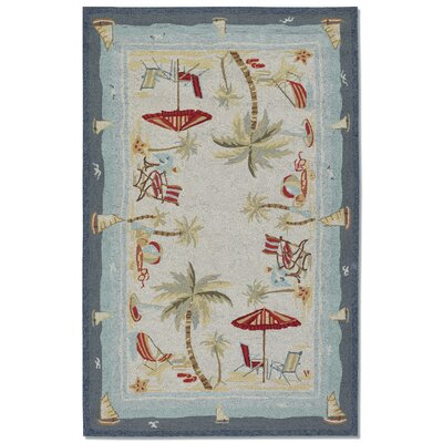 Rundall Water Resistant Hand-Hooked Beige Indoor/Outdoor Area Rug Rug Size: Rectangle 36 x 56