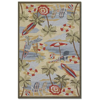 Rundall Hand-Hooked Sand Indoor/Outdoor Area Rug Rug Size: Rectangle 36 x 56