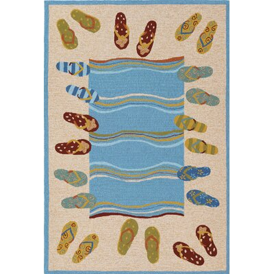 Rundall Sandals Hand-Hooked Sand Indoor/Outdoor Area Rug Rug Size: 36 x 56