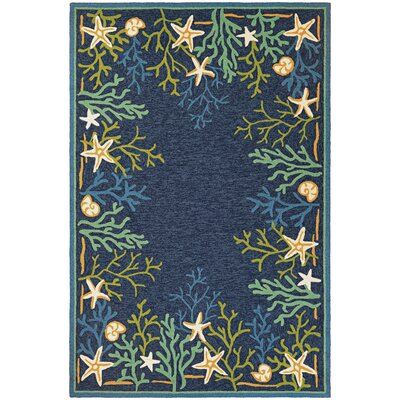Rundall Sea Water Hand-Hooked Blue Indoor/Outdoor Area Rug Rug Size: Rectangle 56 x 8