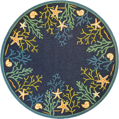 Rundall Sea Water Hand-Hooked Blue Indoor/Outdoor Area Rug Rug Size: Round 710