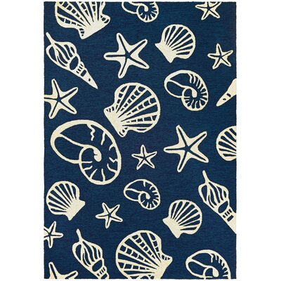 Monticello Cardita Shells Hand-Hooked Navy Indoor/Outdoor Area Rug Rug Size: 36 x 56