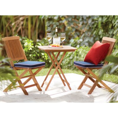 Sunny Isles Square Brazilian Eucalyptus 3 Piece Bistro Set Color: Blue