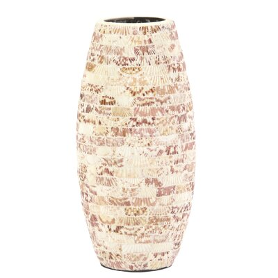 Natural Seashells Cylindrical Ceramic Table Vase Size: 16 H x 7.5 W x 7.5 D