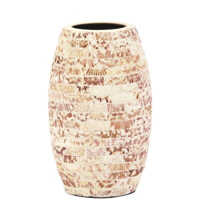 Natural Seashells Cylindrical Ceramic Table Vase Size: 12.5 H x 7 W x 7 D