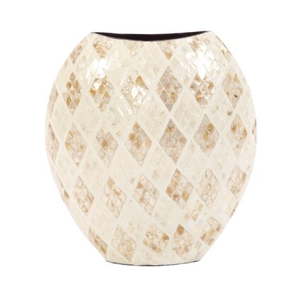 Rounded Fiberglass Diamond Shaped Capiz Shells Table Vase Size: 14.5 H x 13 W x 6 D