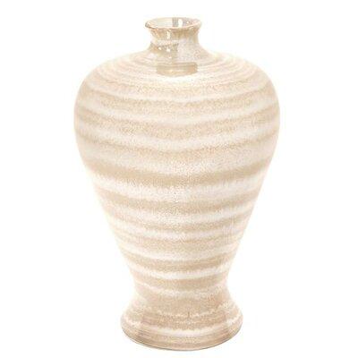 Neutral Striped Pearlized Glaze Table Vase Size: 15.5 H x 10.5 W x 10.5 D
