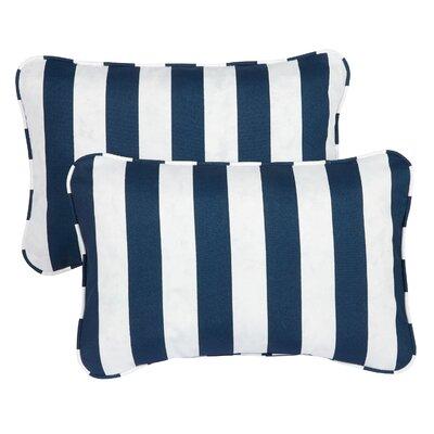 Livia Corded Indoor/Outdoor Lumbar Pillow Fabric: Striped Navy