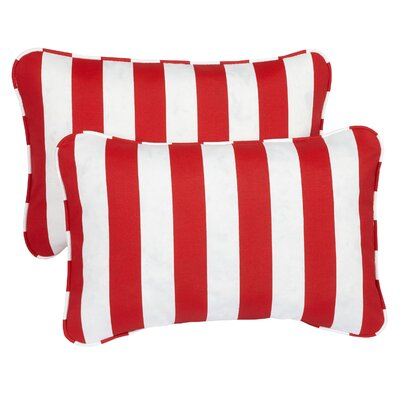 Sterne Corded Indoor/Outdoor Lumbar Pillow Fabric: Striped Red