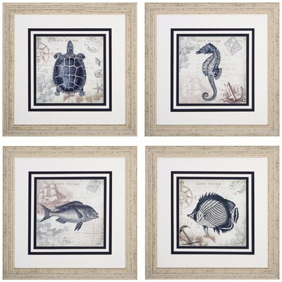Seaside 4 Piece Framed Graphic Art Set