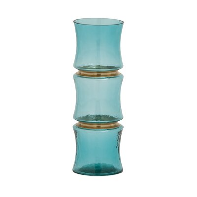 Unique Blue Glass Vase Size: 12 H x 4 W x 4 D