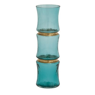 Unique Blue Glass Vase Size: 15 H x 5 W x 5 D