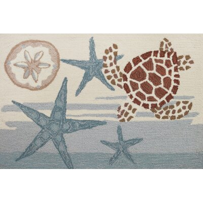 Claverack Coastal Turtle Hand Hooked Blue/Beige Area Rug Rug Size: Rectangle 110 x 210