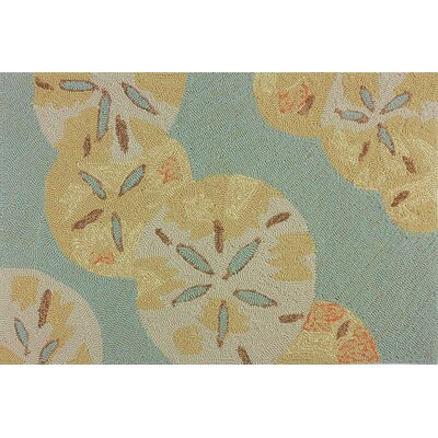 Coeymans Sand Dollars by the Sea Blue/Gold Indoor/Outdoor Area Rug Rug Size: Rectangle 5 x 7