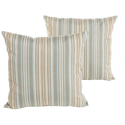 Sterne Stripe Indoor/Outdoor Sunbrella Throw Pillow Size: 22 H x 22 W x 6 D, Color: Teal Beige