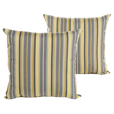 Sterne Stripe Indoor/Outdoor Sunbrella Throw Pillow Size: 18 H x 18 W x 6 D, Color: Yellow Gray