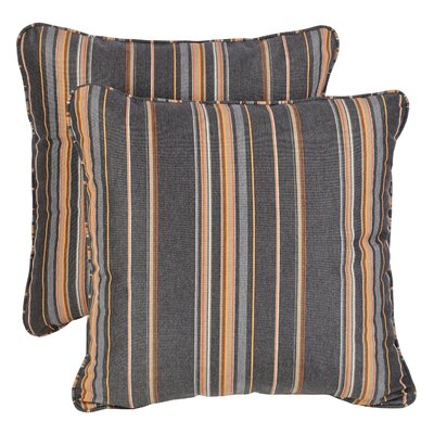 Sterne Greystone Sunbrella Indoor/ Outdoor Throw Pillows Size: 18 H x 18 W x 6 D, Color: Gray/Orange