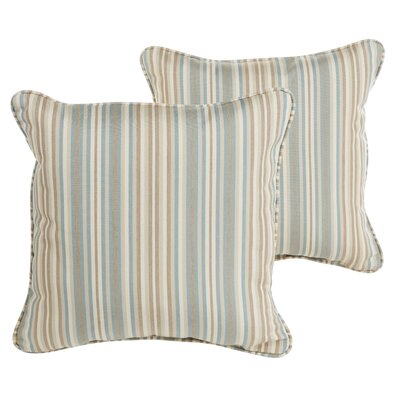 Livia Greystone Sunbrella Indoor/ Outdoor Throw Pillows Size: 22 H x 22 W x 6 D, Color: Teal/ Beige