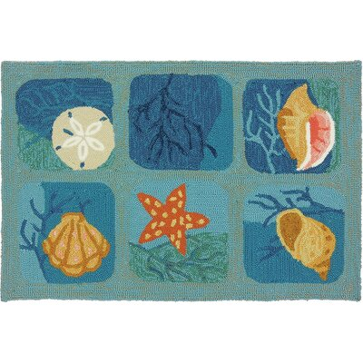 McGrath Shell Tile Aqua Indoor/Outdoor Area Rug Rug Size: 110 x 210