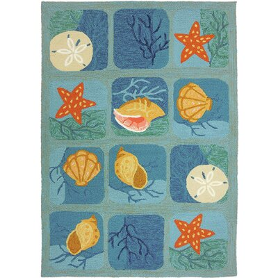Coeymans Shell Tile Aqua Indoor/Outdoor Area Rug Rug Size: 5' x 7'
