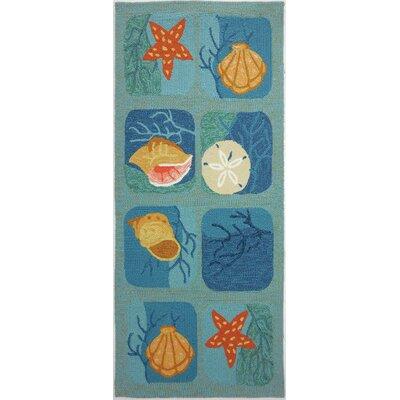 McGrath Shell Tile Aqua Indoor/Outdoor Area Rug Rug Size: Runner 22 x 5