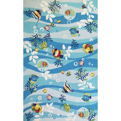 Chamberlin Blue Tropical Fish Area Rug Rug Size: Rectangle 18 x 26
