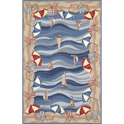 Livia On The Beach Novelty Hand-Hooked Blue Rug Rug Size: 53 x 83