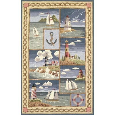 Livia Coastal Views Nautical Novelty Rug Rug Size: Oval 26 x 46
