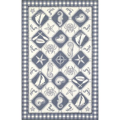 Livia Blue/Ivory Nautical Novelty Rug Rug Size: Oval 26 x 46