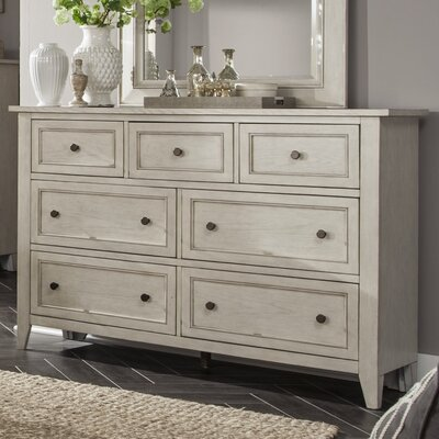 Stoughton 7 Drawer Dresser in Weathered White