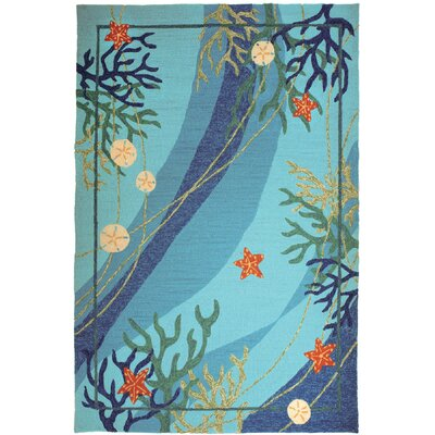 Coeymans Underwater Blue Coral and Starfish Indoor/Outdoor Area Rug Rug Size: 5 x 7