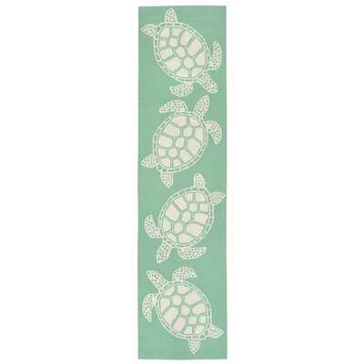 Claycomb Hand-Tufted Green Indoor/Outdoor Area Rug Rug Size: Runner 2 x 8