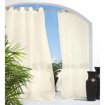 Odessa Solid Semi-Sheer Outdoor Grommet Single Curtain Panel