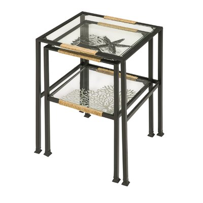Clauderson Pen and Ink Sea Shell 2 Piece Nesting Tables Set