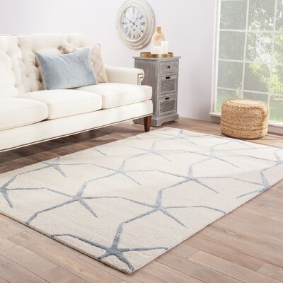 Farley Coastal Ivory/Blue Area Rug Rug Size: Rectangle 36 x 56