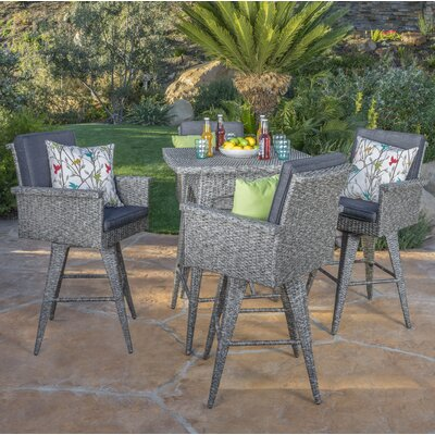 Washington Wicker 5 Piece Bar Set