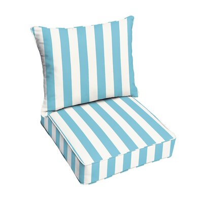 Pearl Corded Stripe 2 Piece Indoor/Outdoor Dining Chair Cushion Set
