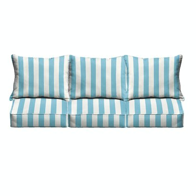 Pearl Corded Stripe 6 Piece Indoor/Outdoor Sofa Cushion Set