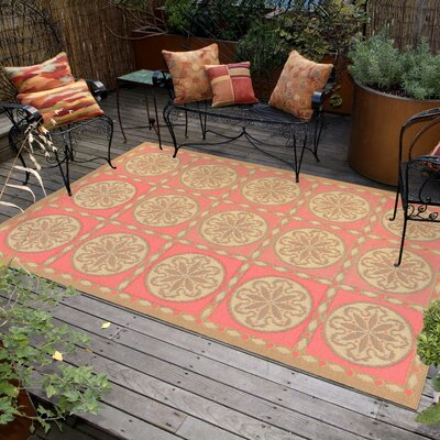 Coeur Tile Pink/Green Indoor/Outdoor Area Rug Rug Size: 111 x 211