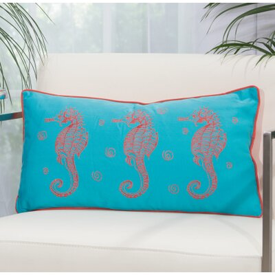 Thea Key Lumbar Pillow Color: Turquoise/Coral