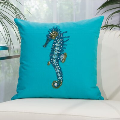 Alexandrina Beaded Seahorse Outdoor Throw Pillow Color: Turquoise