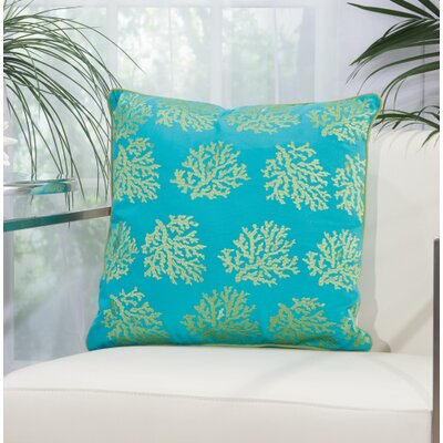Verity Corals Outdoor Acrylic Throw Pillow Color: Turquoise / Green