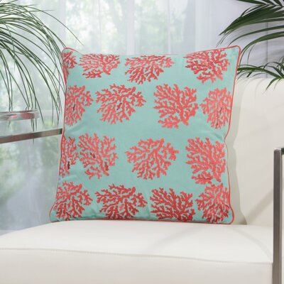 Verity Corals Outdoor Acrylic Throw Pillow Color: Aqua / Coral