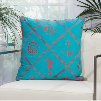 Annabel Nautical Diamonds Outdoor Throw Pillow Color: Turquoise / Coral