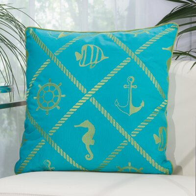 Annabel Nautical Diamonds Outdoor Throw Pillow Color: Turquoise / Green