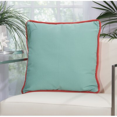 Burleigh 2 Sided Solid Corded Outdoor Acrylic Throw Pillow Color: Coral Aqua