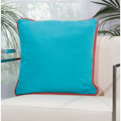 Burleigh 2 Sided Solid Corded Outdoor Acrylic Throw Pillow Color: Coral Turquoise