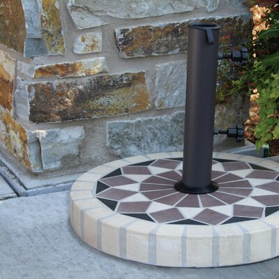 Fallon Round Mosaic Sandstone Free Standing Umbrella Base